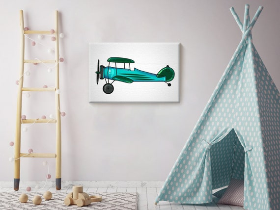 Kids Room Canvas Wall Art Blue Airplane Home Decor Prints Etsy
