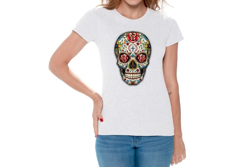 ca368600 Sugar Skull Roses Shirt T shirts Tops for Women Shirts Tees   Etsy