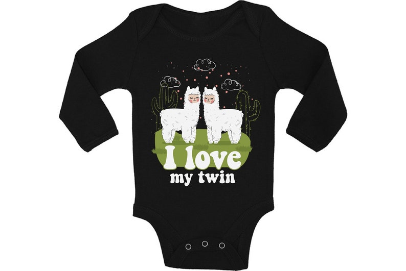 Cute Llamas Outfit for Twins Boy Girl. Funny Baby Shower Gifts My Twin Baby Bodysuit