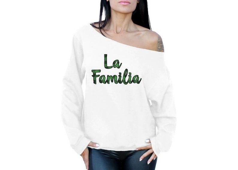 Ugly Xmas Sweatshirt Off Shoulder Christmas Plaid La Familia Sweater