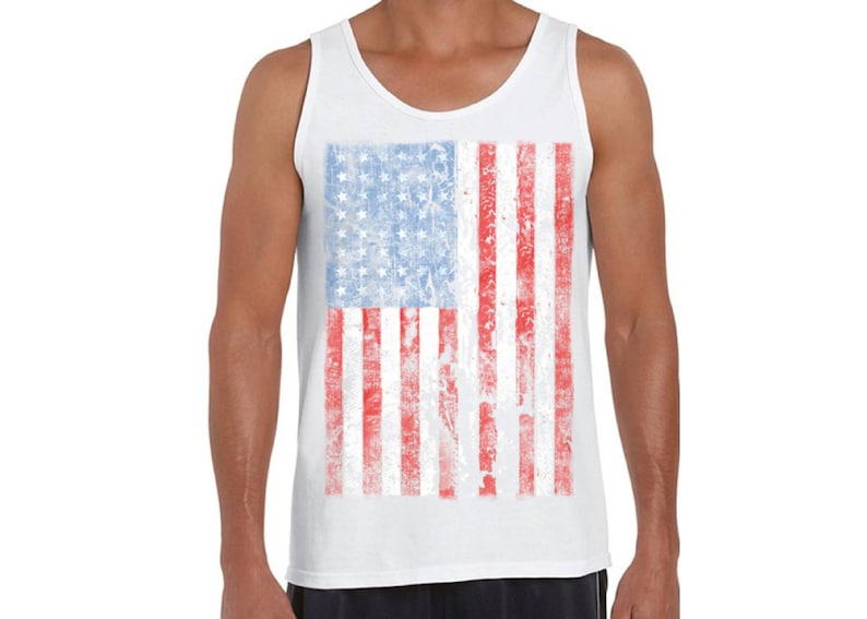 bd8026995007 USA Distressed American Flag Tank Tops for Men USA Graphic | Etsy