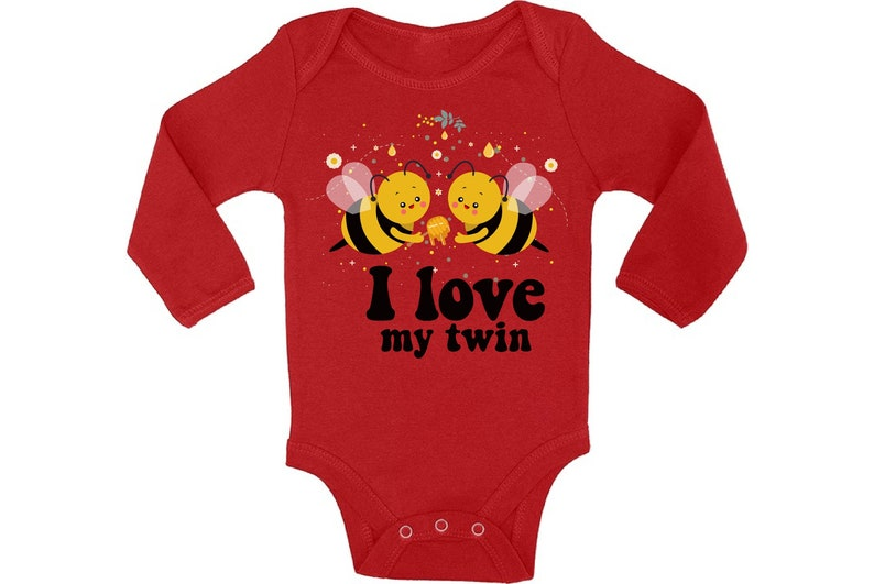 Twin Baby Bodysuit Funny Bee Outfit for Baby Twins. Cute Twins Baby Shower Gifts