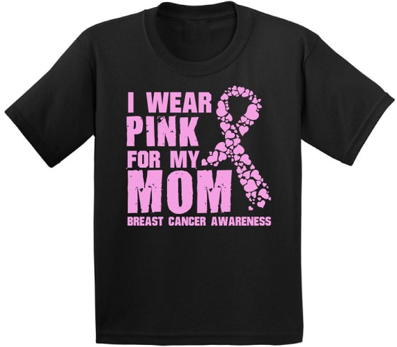 I Wear Pink for Mom Breast Cancer Awareness Youth Kids T-Shirt Support