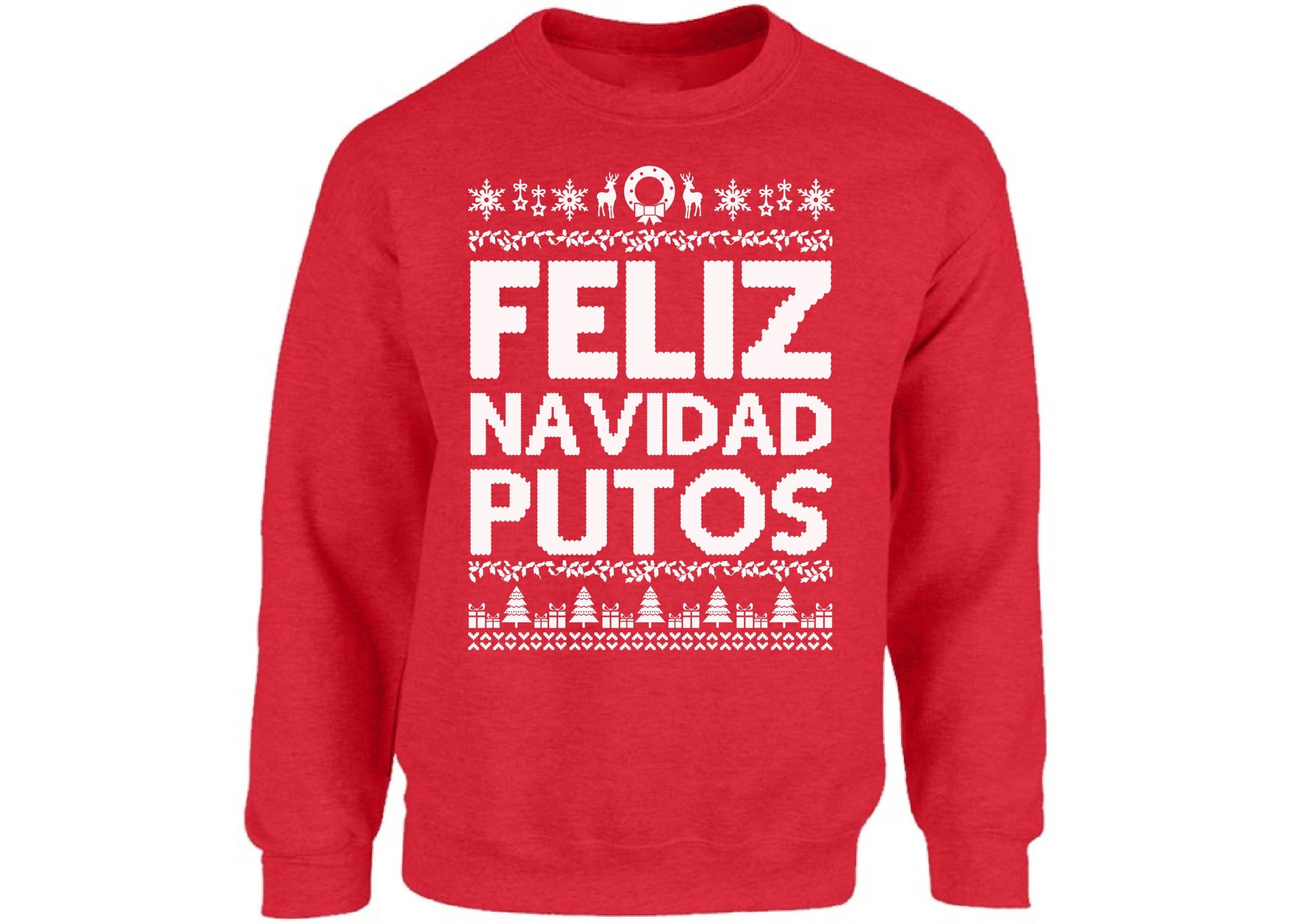 89d90174e Feliz Navidad Putos Sweatshirt Ugly Christmas Sweater For Men | Etsy