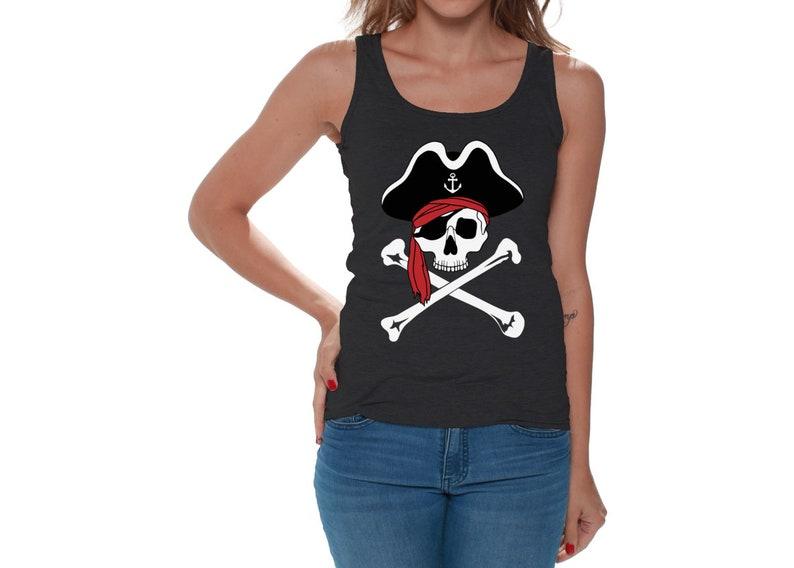 ba81e22326162 Jolly Roger Skull. Tank Tops for Women. Jolly Roger Tanks