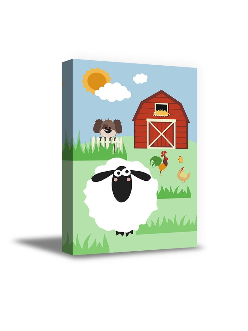 Sunny Household Picture. Farm Canvas Decor Sheep Art Cute Animals Kids Room Wall Art Farm Animals Framed Art Ready to Hang Picture
