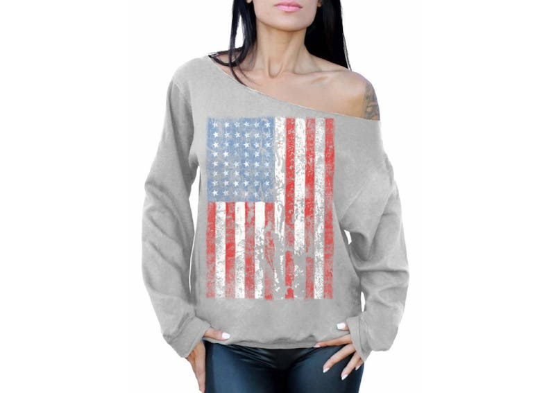 USA Distressed American Flag Off the Shoulder Oversized Sweatshirts USA Off shoulder Sweatshirt for women USA Flag  4th of July