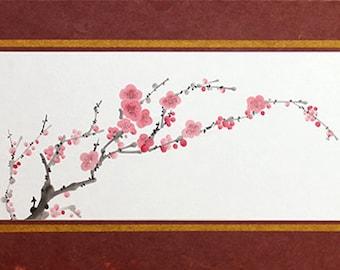 Japanese painting, Sumi-e, Ink wash painting, Japanese art, Japanese blossoms, P006