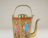 Vintage Teapot Chinese Brass Teapots with Enameled and Hand Painted Figures Hexagonal Teapot