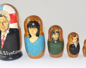 Bill Clinton Vintage Russian Matryoshka Dolls | Vintage Matroschka Nesting Dolls | Babushka Nesting dolls | Clinton-Lewinsky Scandal