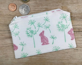 bunny bag white rabbit pouch gift idea for bunny lovers hand embroidered fabric wool Houndstooth wool coin purse embroidery art