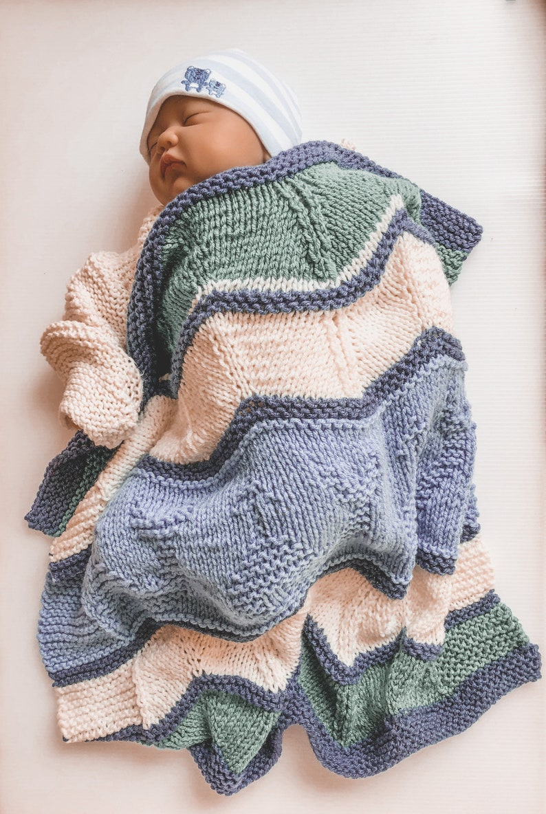 Whale of a Time Baby Blanket Nautical Themed Easy Knit   Etsy
