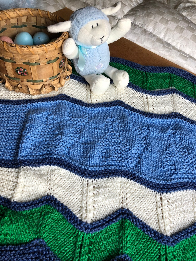 Whale of a Time Baby Blanket Nautical Themed Easy Knit | Etsy