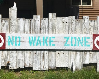 No Wake Sign - pallet wood, reclaimed wood, beach/lake decor