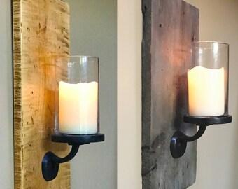 Candle Sconces barnwood reclaimed wood rustic farmhouse decor