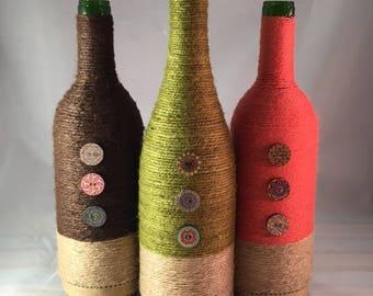 Ficelle enroulé ensemble bouteille de vin - livraison gratuite!