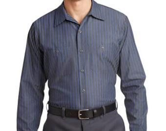 56a542a80b Custom Red Kap Long Sleeve Striped Industrial Work Shirt