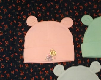 63794266df3 PINK Newborn Knit Cap for Baby w Ears