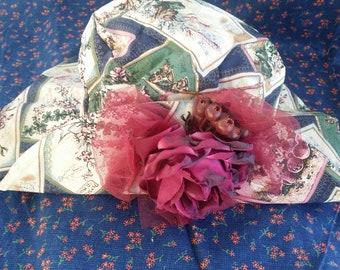23b09ec0bf969 Girls Vintage Floppy Hat with Burgundy Flowers