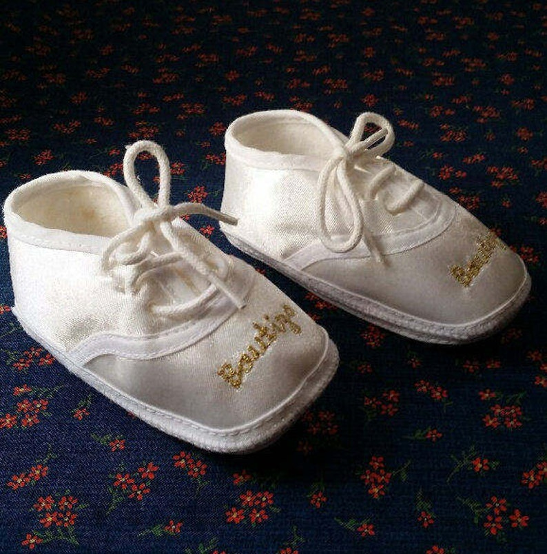 Bautizo Baby Oxford White Satin Crib Shoesbaby Booties Satin Etsy