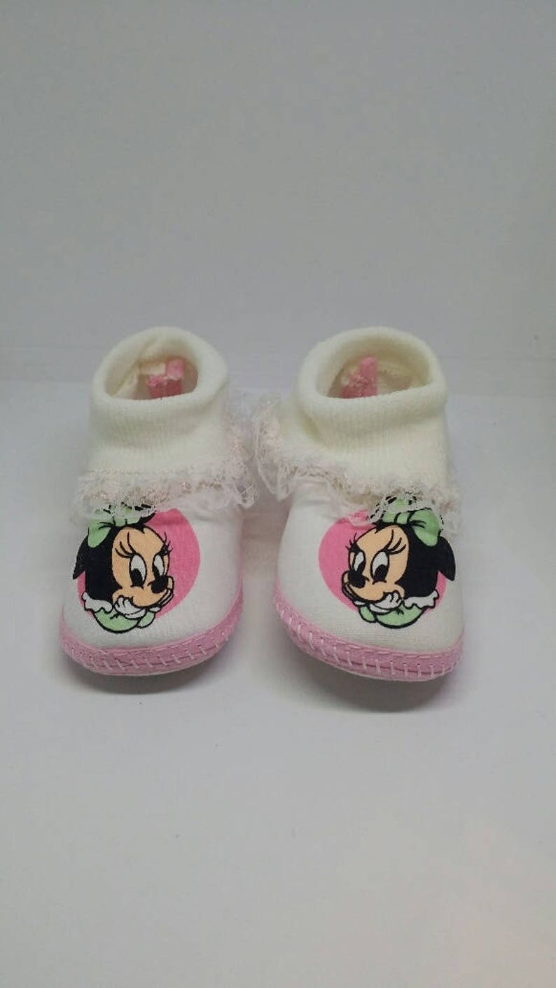 cde792718de33 Disney Babies Minnie Mouse Crib Shoes with Socks Size 2, Vintage Baby  Booties,Vintage Shoes, Baby Shower Gift, Minnie Shoes, Soft Sole Baby