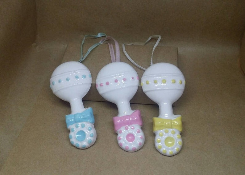 Vintage Rattle Party Favors Retro Ceramic Figurine,Gender Reveal 12 Ceramic Baby Rattle Ornaments Baby Shower Favors Pink Blue Yellow
