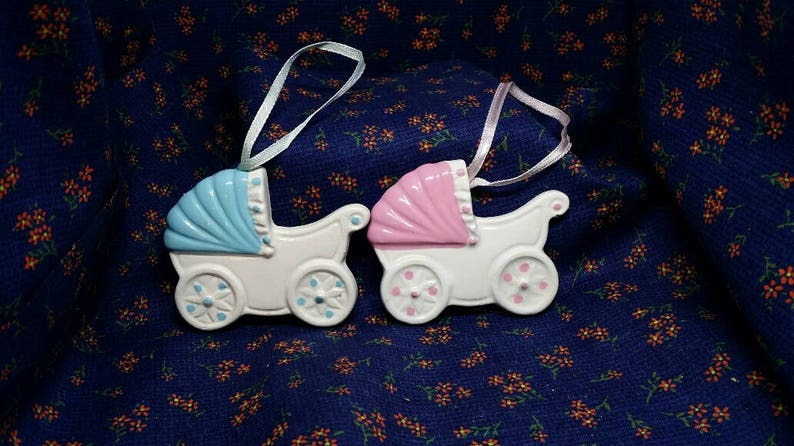 6 x Large Blue Pram//Pushchair Charms Christening Favours Baby Shower Gift