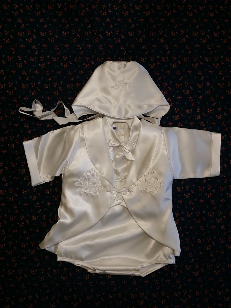 ffa3b7414a33 Vintage Baby Boy s White Satin Romper w Long Sleeve Jacket