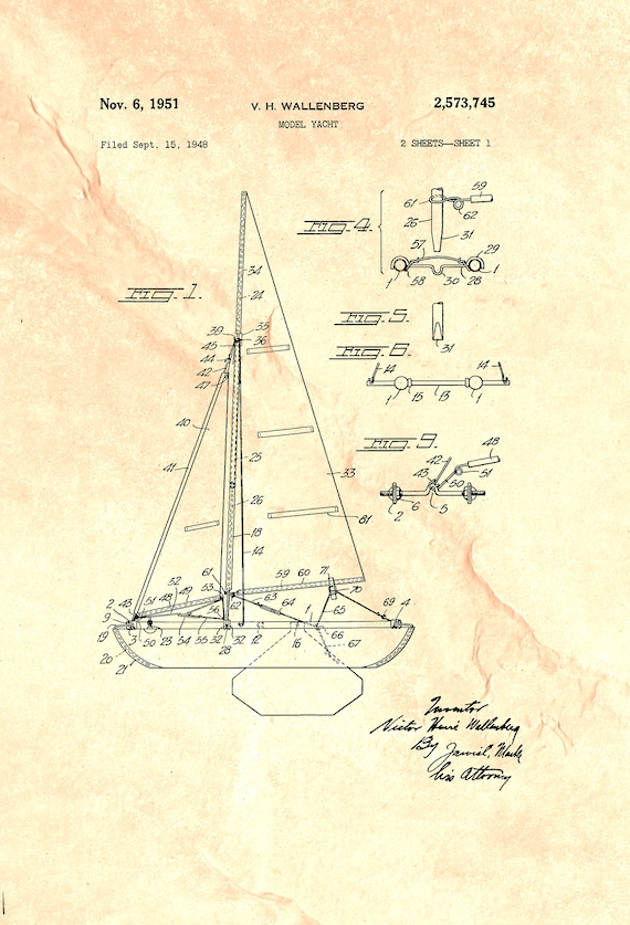 Sperry 1920 Boat Owners Gifts Boaters Sailboat Wall Decor Patent Art Print Gift