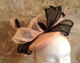 Black and light pink fascinator with feathers mother of the bride/races/ascot/church/holy communion