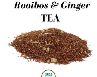 Organic South African Rooibos & Ginger Loose Herbal Tea with Orange Peel (USDA Organic and Fair Trade)