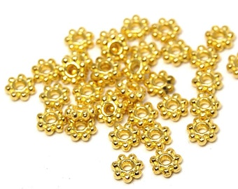 200 beads, Gold Daisy Spacer 4.5mm beads