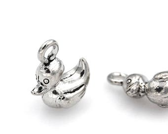 Ten 5236 Pewter Duck Charms 10