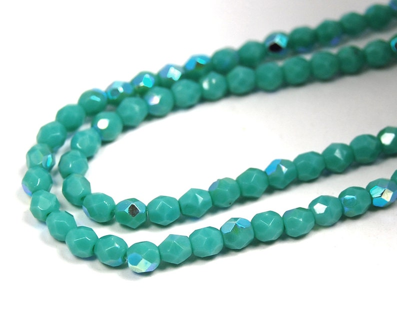 100pc AB Turquoise Czech 4mm Fire-polished Faceted Round Beads