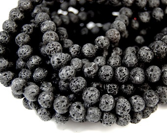 "Two 15.5"" strands Lava Rock Beads Black 8mm lava stone black round beads"