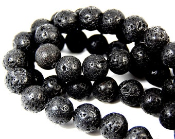 "Two 15.5"" strands Lava Rock Beads Black 14mm lava stone black round beads lava bead supplies volcano rock"