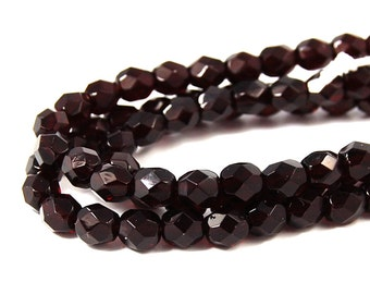50/pc Garnet Czech 6mm Fire-polished Faceted Round Beads