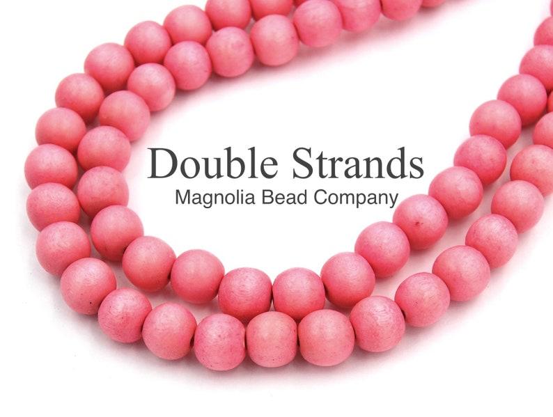 Pink Beads,Boho Beads Wood Beads Two 16 Strands Flamingo Pink Wood Beads 8mm Wood Beads