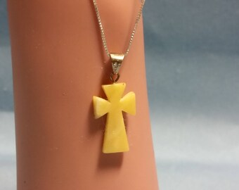 Amber Cross in Sterling Silver Chain
