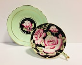 RARE Paragon Large Roses on Black Background Green Teacup and Saucer, Paragon Pink Cabbage Roses Teacup and Saucer Paragon Double Warrant
