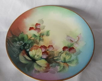 French Coiffe Limoges Plate Handpainted Porcelain Hallmarked French Farmhouse Harvest