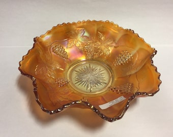 Marigold Grape and Cable Carnival Glass Ruffled Edge Bowl. Marigold Carnival Glass