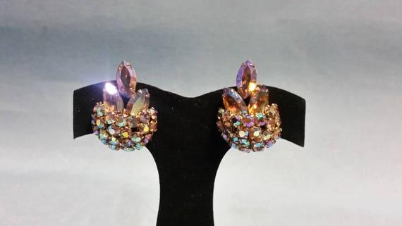 Vintage Sherman Lavender Earrings, Signed Sherman