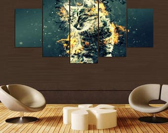 df49f12f8 Cat Canvas Art, Cat Wall Art, Abstract 5 Piece Canvas Print,Split Panels  Set, Artwork For Home, Cat Lover Gift