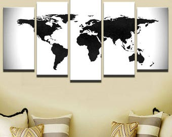 Map wall decor etsy world map canvas art world map wall art large wall art white and black world map canvas print wold map wall decor world map framed gumiabroncs Image collections