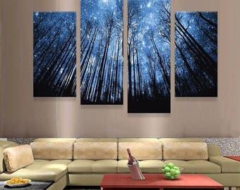 4 piece canvas wall art canvas print forest wall art canvas large print decor piece art framed piece wall art etsy
