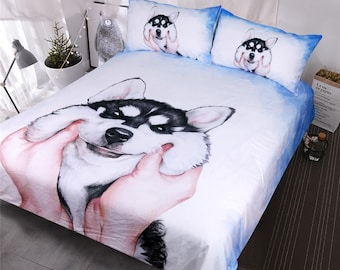 Dog Duvet Cover, Dog Bedding Set, Husky Duvet Cover, King Duvet Cover,  Queen Duvet Cover Set , Full Duvet Cover, Twin Duvet Cover