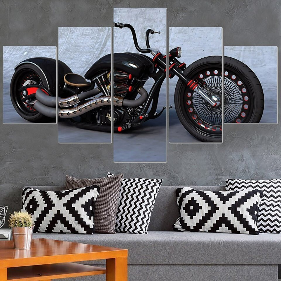 Motorcycle canvas art motorcycle wall art motorcycle wall decor motorbike painting chopper painting multi panel motorcycle printframed