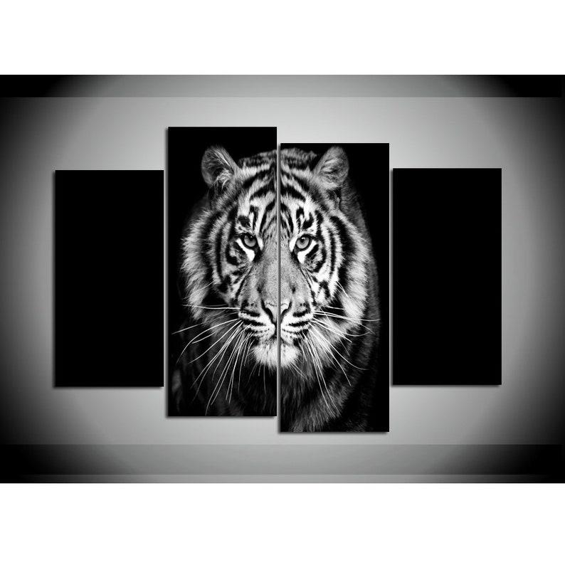 WHITE BLACK TIGER CANVAS PURPLE EYES PICTURE SPLIT MULTI PANEL ARTWORK 100cm