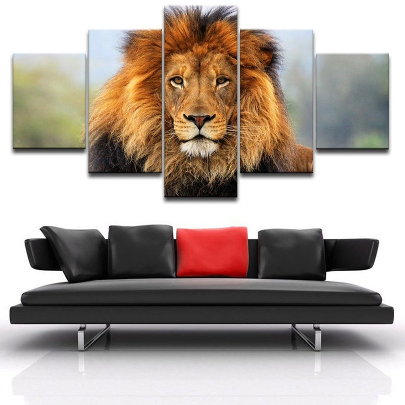 Lion Canvas Art Lion Canvas Print Lion Wall Art Lion Wall Etsy